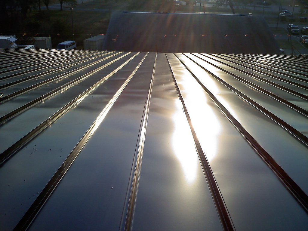 The solar thermal roof at Gaffney Fitness Center at Fort Meade, Md.